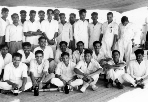 Oceanography students on deck of Rohilkhand